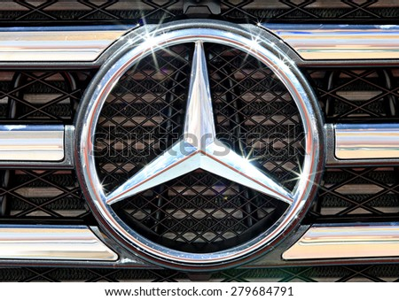Bangkok - April 2 :close up logo of Mercedes Benz on bumper - in display at The 36th Bangkok international Motor Show 2015 on April 2, 2015 in Bangkok Thailand - stock photo