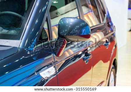 BANGKOK - APRIL 3 : Detail on the side mirror of Ssangyong new Stavic in The 36 th Bangkok International Motorshow , on April. 3, 2015 in Bangkok, Thailand - stock photo