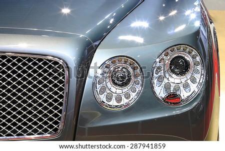 Bangkok - April 2 :headlight of Bentley series Flying Spur V8  luxury  car - in display at The 36th Bangkok international Motor Show 2015 on April 2, 2015 in Bangkok Thailand - stock photo