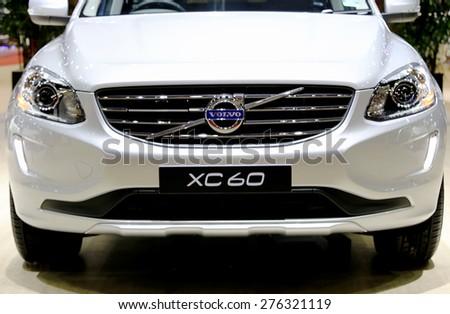 Bangkok - April 2 : headlights and bonnet of Volvo series XC60 - in display at The 36th Bangkok international Motor Show 2015 on April 2, 2015 in Bangkok Thailand - stock photo