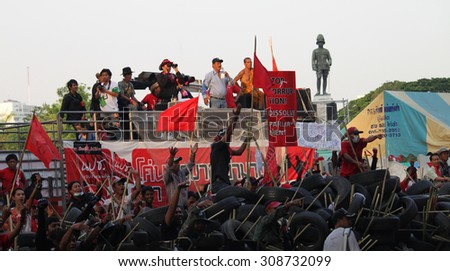 Bangkok (April 2010): People protested in the center of Bangkok Thailand against the current government.