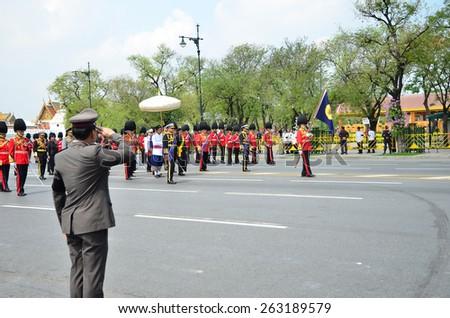 BANGKOK - APRIL 9: Soldiers in parade uniforms marching during the royal funeral of Her Royal Highness Princess Bejaratana on April 9, 2012 in Bangkok, Thailand. - stock photo