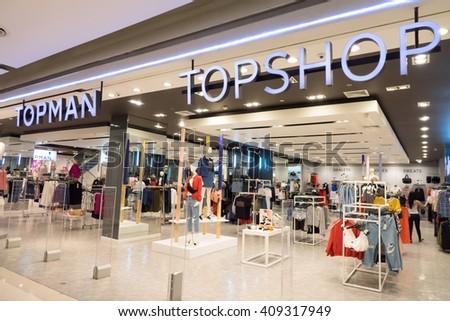 BANGKOK- April 21, 2016: Topshop store. Top shop is a British fashion retailer with more than 500 shops worldwide. ,Bangkok, Thailand - stock photo