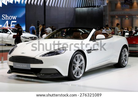 Bangkok - April 2 :white Aston Martin series Vanquish - in display at The 36th Bangkok international Motor Show 2015 on April 2, 2015 in Bangkok Thailand - stock photo