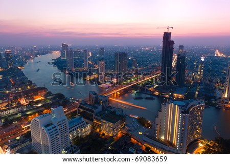 Bangkok at dusk - stock photo