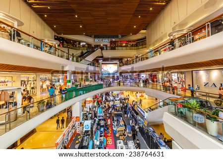 BANGKOK - AUG 11: People shop at Central Ladprao on Aug 11, 2014 in Bangkok. It is a shopping complex, owned Central Pattana and was the first inegrated shopping complex of Central Pattana.
