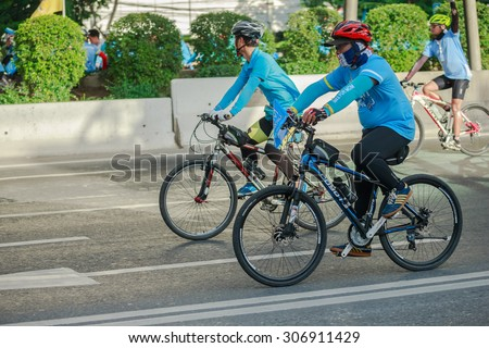 BANGKOK -AUG 16 Unidentified cyclists at Bike for mom event on Aug 16, 2015 in Bangkok. The event is to cerebrate 83rd Her Majesty Queen Sirikit Birth Day which takes places all over the country.