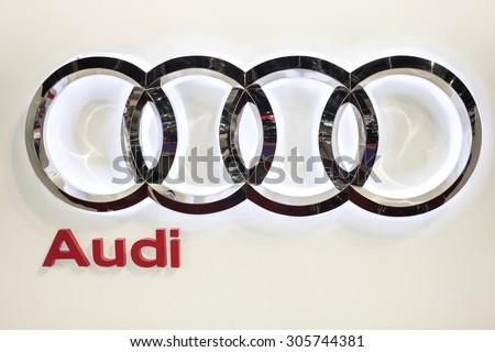 BANGKOK - AUGUST 1 :Audi logo on display at Big Motor Sale 2015 on  Aug 1,2015 in BITEC ,Bangkok, Thailand.