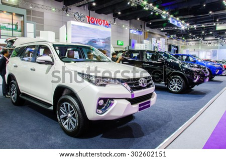 BANGKOK - AUGUST 1 : Toyota Fortuner All New on display at Bangkok International Grand Motor Sale 2015 (Big Motor Sale 2015) is exhibition of vehicles for sale on August 1, 2015 in Bangkok, Thailand. - stock photo