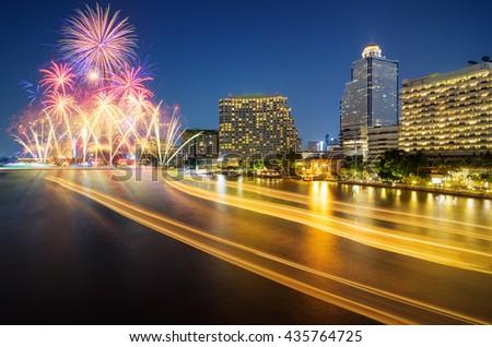 Bangkok business district riverside Beautiful fireworks and celebration. - stock photo