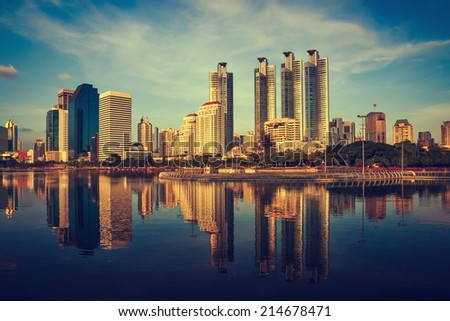 Bangkok, capital city of Thailand at sunset - stock photo