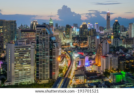 Bangkok Central Business District (CBD) at night - stock photo