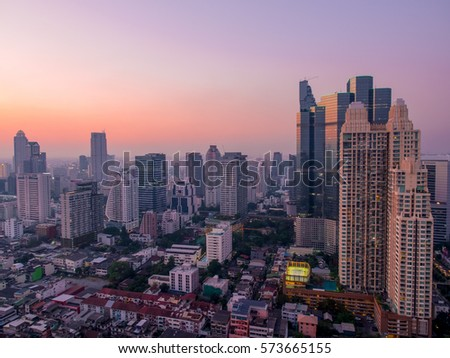 Bangkok central business district in twilight,landscape of bangkok