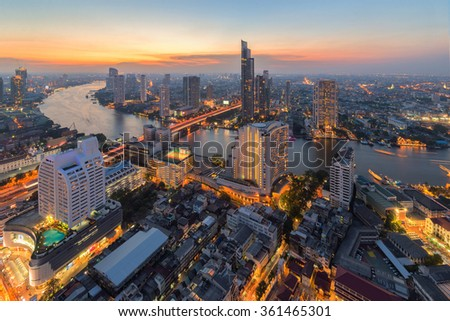 Bangkok City and the river,Hotel and resident area in the capital of Thailand - stock photo
