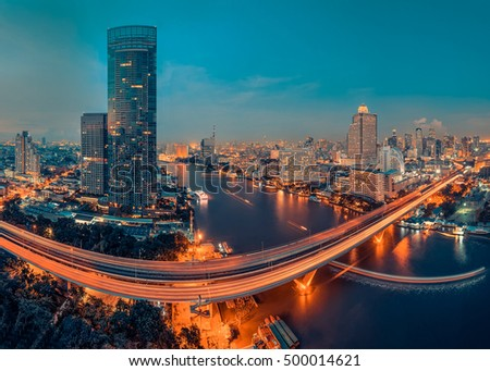 Bangkok City and the river, Hotel and resident area in the capital of Thailand