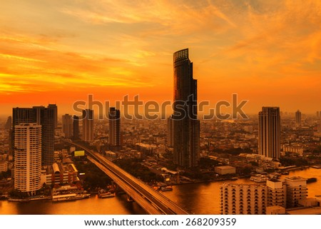 Bangkok City at evening time, Hotel and resident area in the capital of Thailand - stock photo