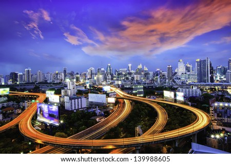Bangkok city at night. - stock photo