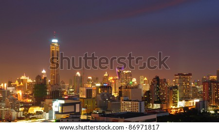 Bangkok City at night - stock photo