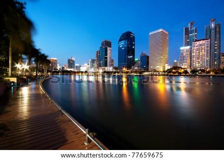 Bangkok City at Night, Thailand - stock photo