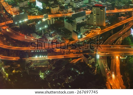 Bangkok city at night, Thailand at nighttime - stock photo