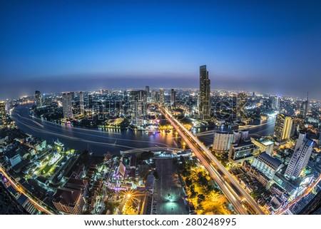 Bangkok City at night, Thailand on MAY 04, 2015 - stock photo