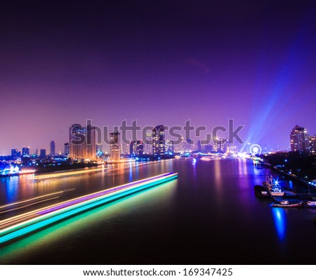 Bangkok City at night time, area in the capital of Thailand  - stock photo