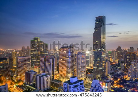 Bangkok City at night time, Hotel and resident area in the capital of Thailand