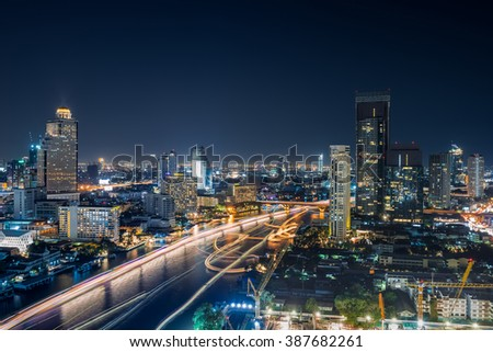Bangkok City at night time, The best Hotel and resident area in the capital of Thailand - stock photo