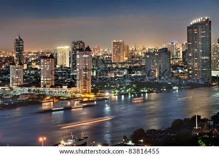 Bangkok city at twilight - stock photo