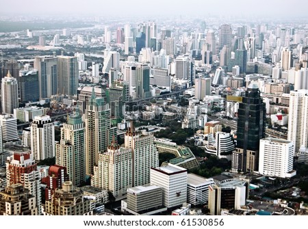 Bangkok city bird's-eye view in evening. - stock photo