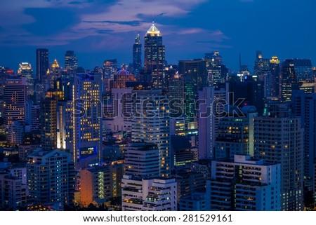 Bangkok city center at night - stock photo