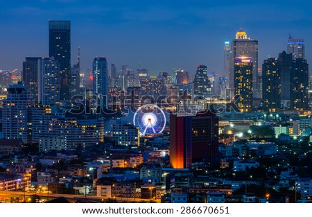 Bangkok City Chao Phraya River Landmark - stock photo