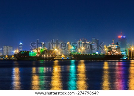 Bangkok city Cityscape twilight and Chao Phraya River Asia Thailand