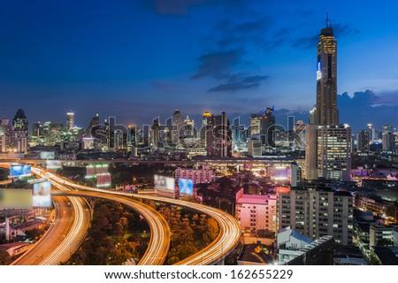 Bangkok city day view with main traffic at twilight - stock photo