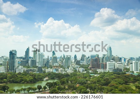 Bangkok city in day.In city's tallest building Area of the park. During the daytime the weather and clear. - stock photo