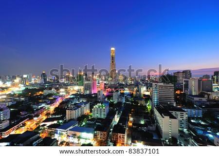Bangkok City in twilight - stock photo