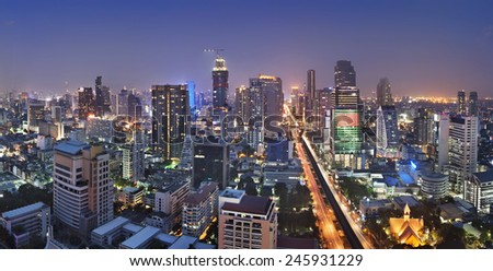 Bangkok city night view - stock photo
