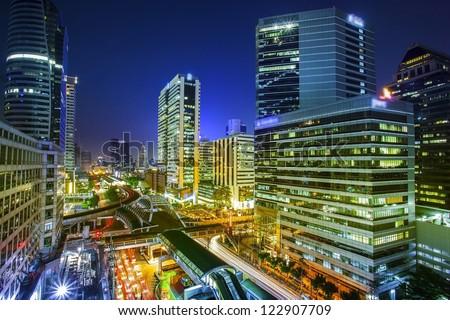 Bangkok city night view with main traffic - stock photo