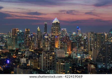 Bangkok city scape at twilight time - stock photo