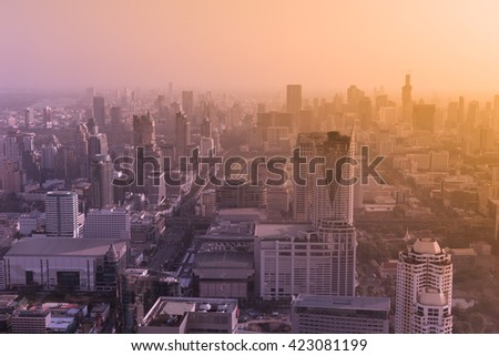 Bangkok City skyline with urban skyscrapers at sunset, THAILAND. stylized top view big city fashion style processed - stock photo