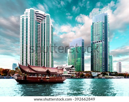 Bangkok city.Skyscraper and river Chao phraya - stock photo