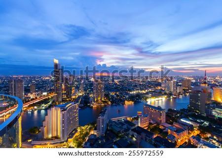 Bangkok city (Taksin Bridge) - stock photo