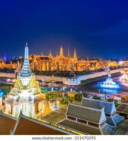 Bangkok city Temple of the Emerald Buddha Bangkok, Asia Thailand (Wat Phra Kaeo) - stock photo