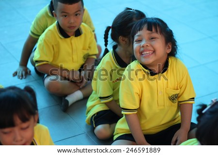 BANGKOK CITY, THAILAND - Dec 2014: In the dec 26, 2014. Bangkok County.  Kindergarten students are smiling happily.