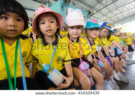 BANGKOK CITY, THAILAND -  JULY 2016: Kindergarten Students visit the zoo, In the jul 15, 2016. Bangkok Thailand.