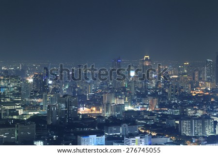 Bangkok city top view at night, Thailand - stock photo