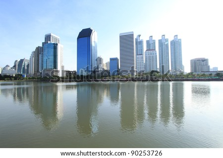 Bangkok city with reflection of skyline and building