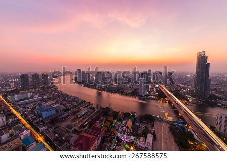 Bangkok city with the sunset in the evening. - stock photo