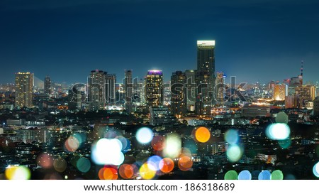 Bangkok Cityscape at twilight, Color of night life (Thailand) - stock photo