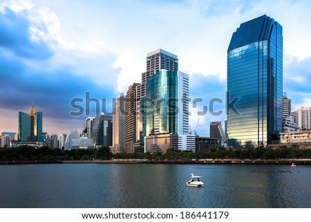 Bangkok Cityscape at twilight, Park in the City (Thailand) - stock photo